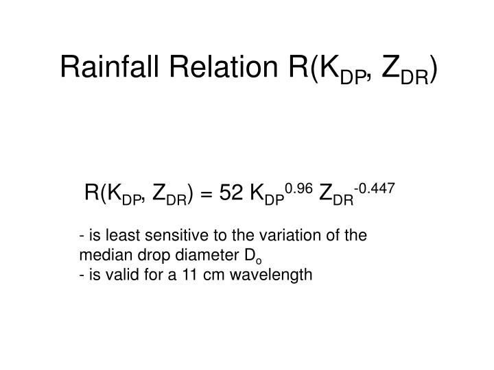 Rainfall Relation R(K