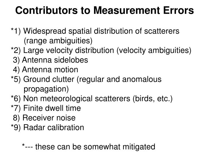 Contributors to Measurement Errors