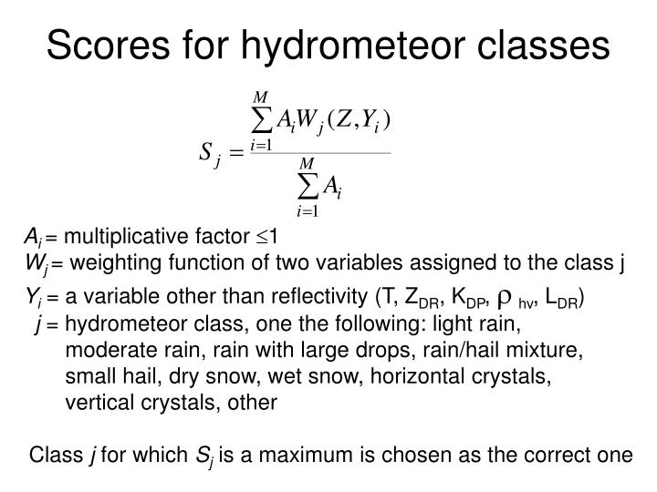 Scores for hydrometeor classes