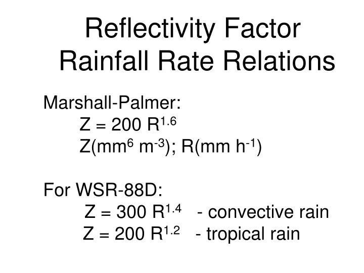 Reflectivity Factor