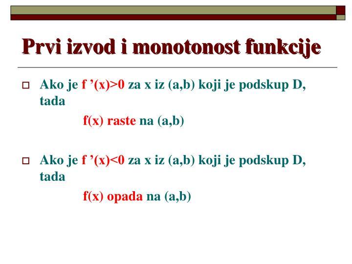 Prvi izvod i monotonost funkcije