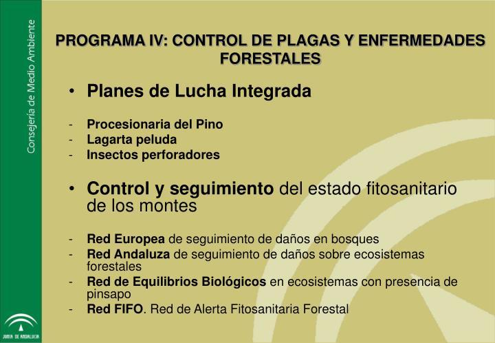 PROGRAMA IV: CONTROL DE PLAGAS Y ENFERMEDADES FORESTALES
