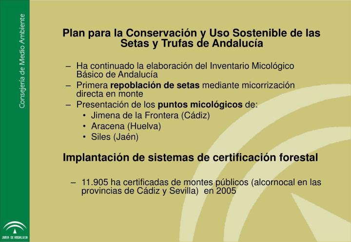 Plan para la Conservación y Uso Sostenible de las Setas y Trufas de Andalucía