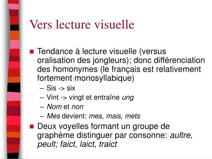 Vers lecture visuelle