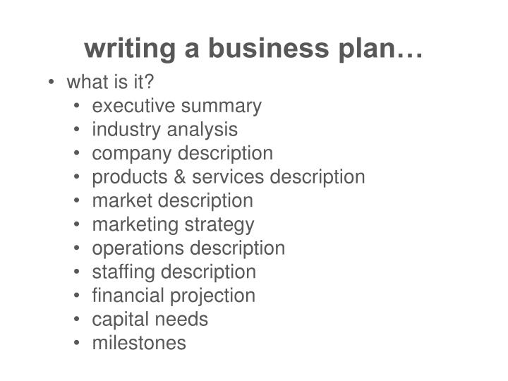 writing a business plan…