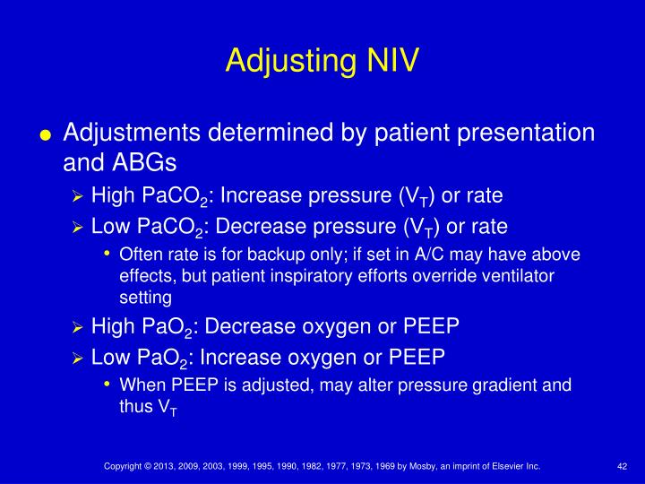 Adjusting NIV