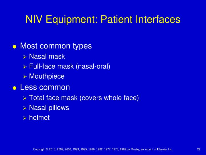 NIV Equipment: Patient Interfaces