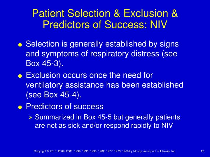Patient Selection & Exclusion & Predictors of Success: NIV