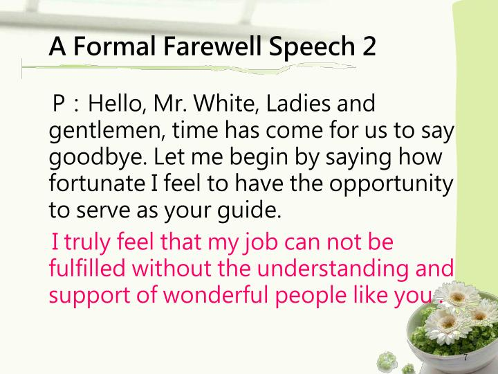A Formal Farewell Speech 2