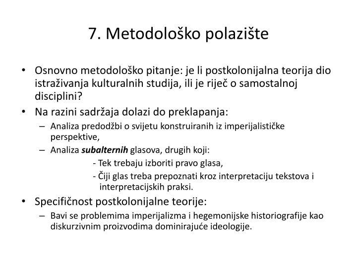 7. Metodološko polazište