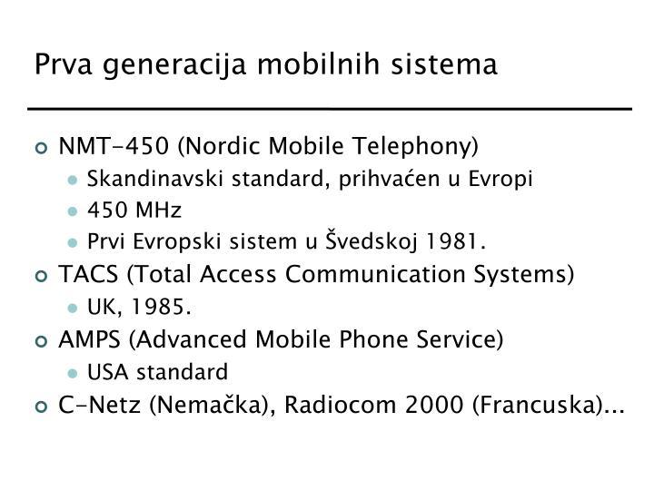 Prva generacija mobilnih sistema