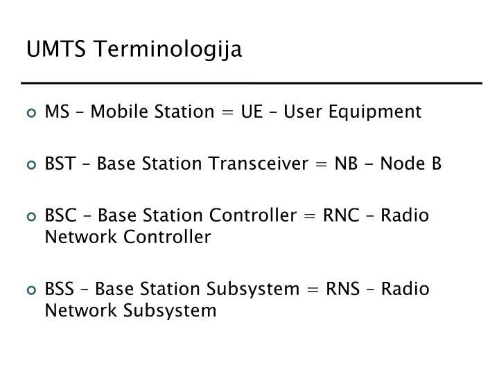UMTS Terminologija
