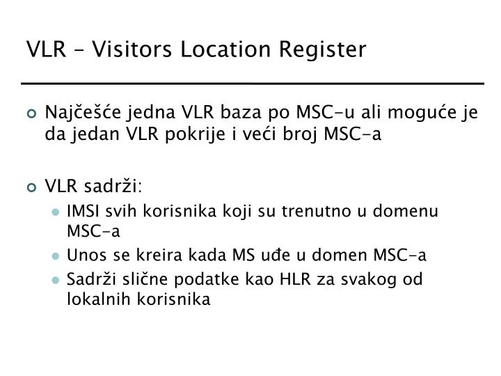 VLR – Visitors Location Register