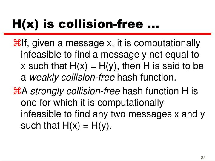 H(x) is collision-free ...