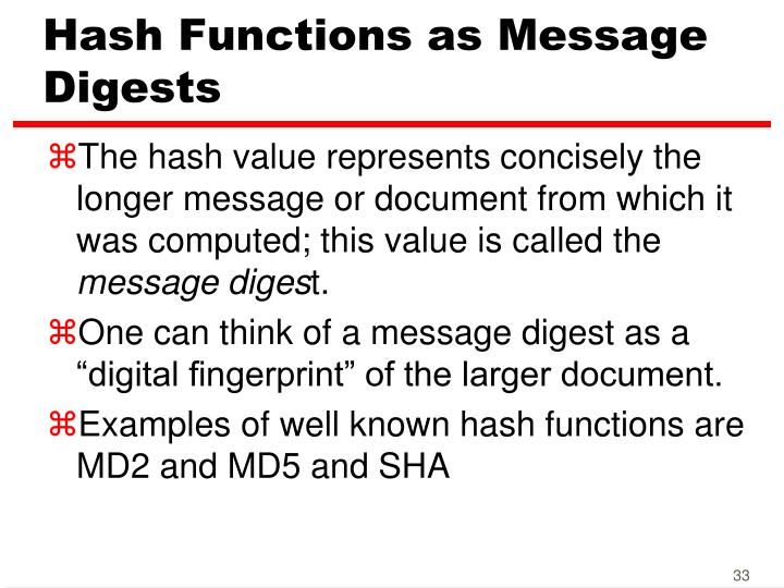 Hash Functions as Message Digests