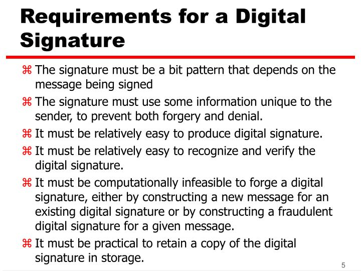 Requirements for a Digital Signature