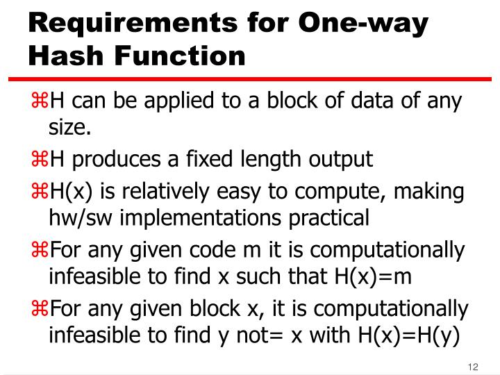 Requirements for One-way Hash Function