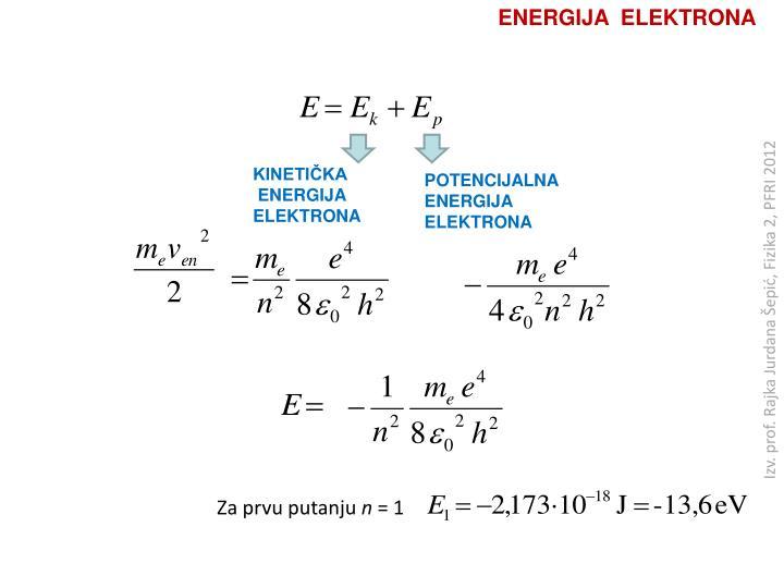 ENERGIJA  ELEKTRONA