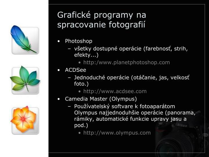 Grafické programy na spracovanie fotografií