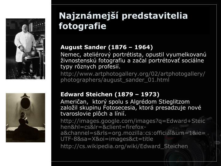 Najznámejší predstavitelia fotografie