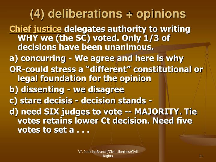 (4) deliberations + opinions