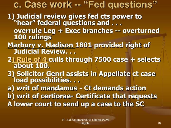 "c. Case work -- ""Fed questions"""