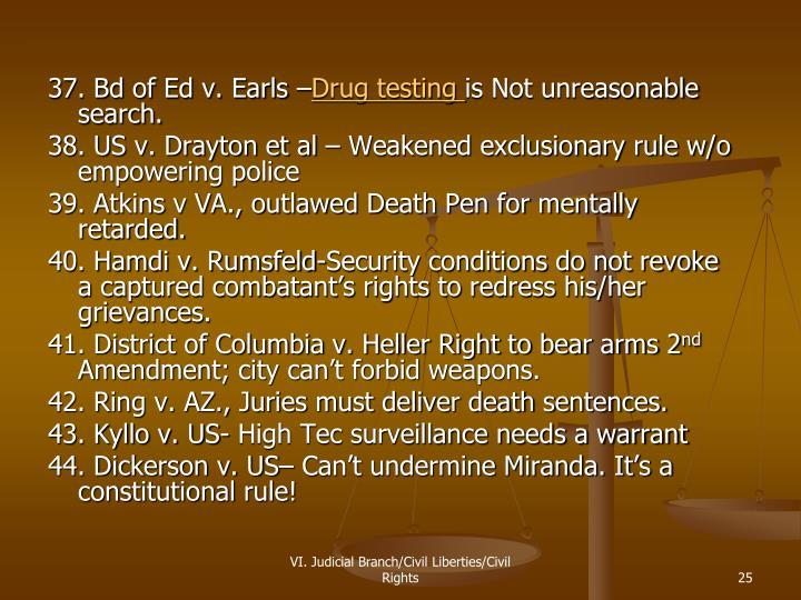 37. Bd of Ed v. Earls –