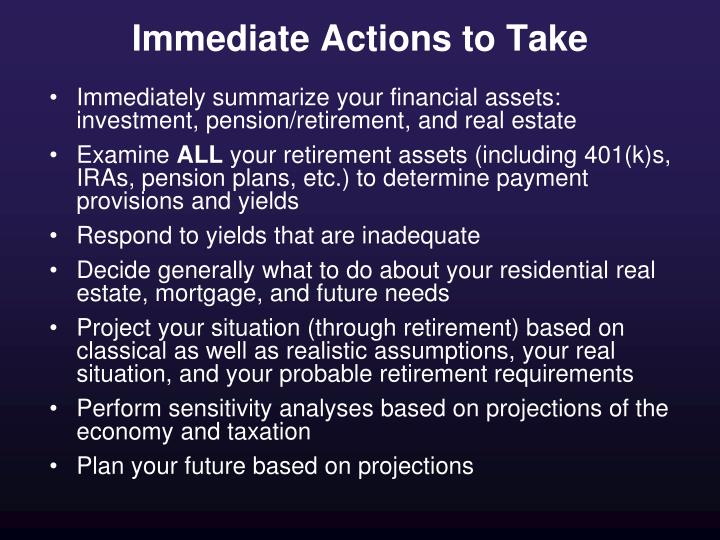 Immediate Actions to Take
