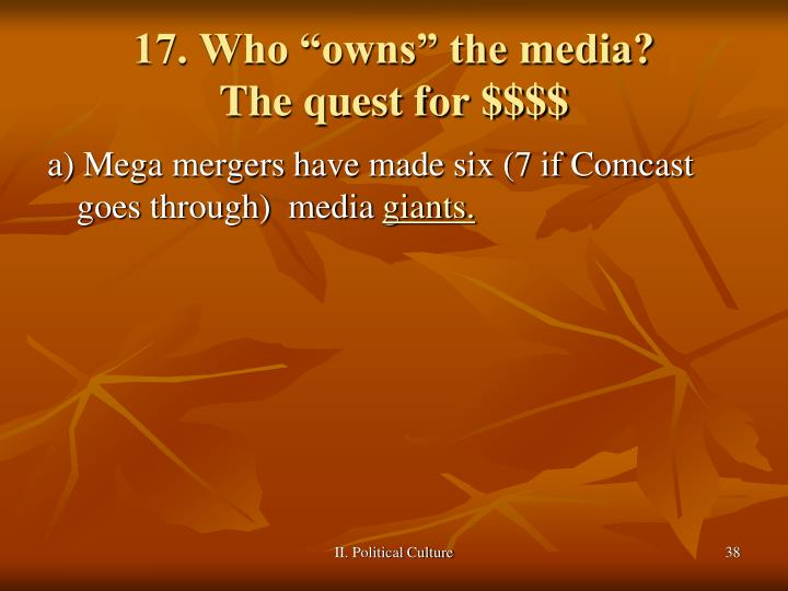 "17. Who ""owns"" the media?"