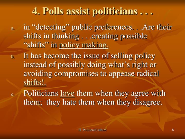 4. Polls assist politicians . . .