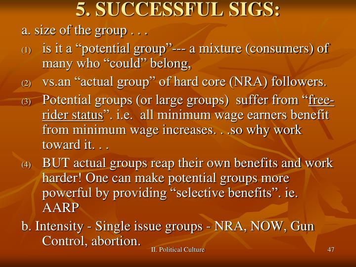 5. SUCCESSFUL SIGS: