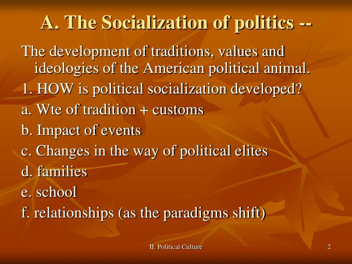 A the socialization of politics