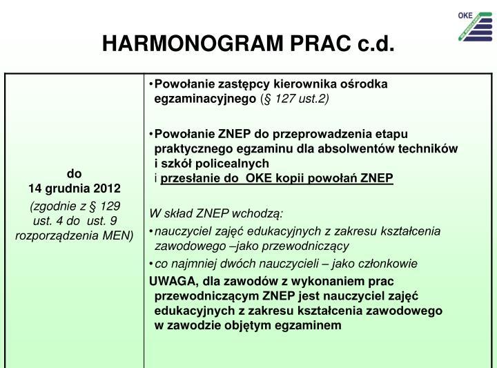 HARMONOGRAM PRAC c.d.