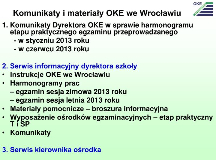 Komunikaty i materiały OKE we Wrocławiu