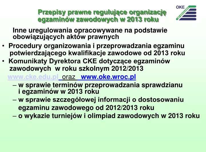 Przepisy prawne regulujące organizację egzaminów zawodowych w 2013 roku