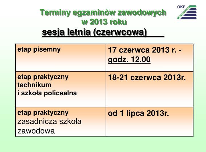 Terminy egzaminów zawodowych