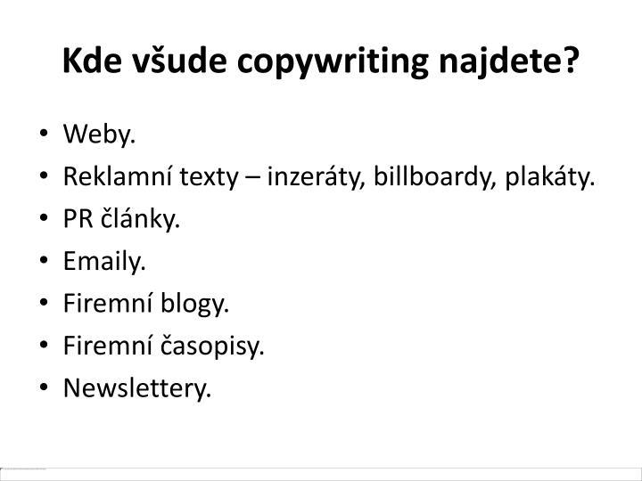 Kde všude copywriting najdete?