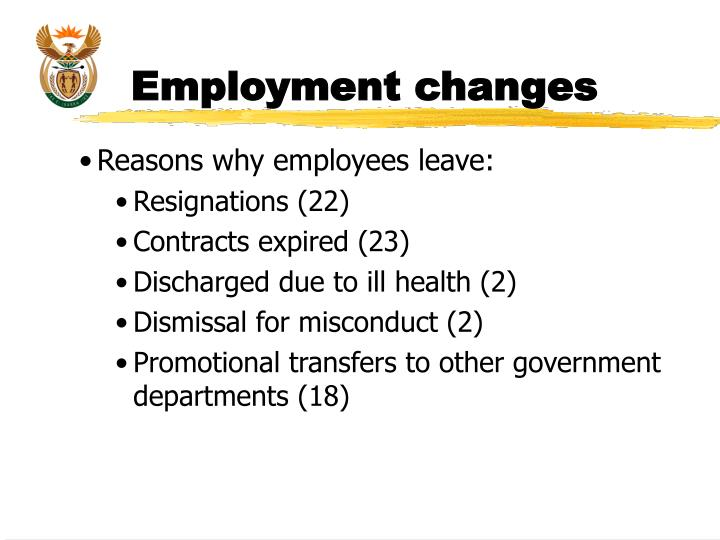 Employment changes
