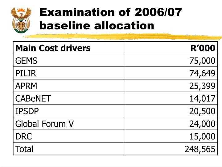 Examination of 2006/07 baseline allocation