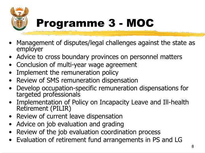 Programme 3 - MOC
