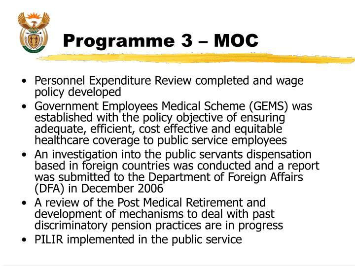 Programme 3 – MOC