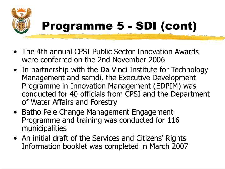 Programme 5 - SDI (cont)
