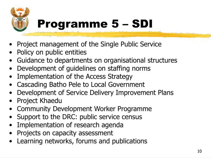 Programme 5 – SDI