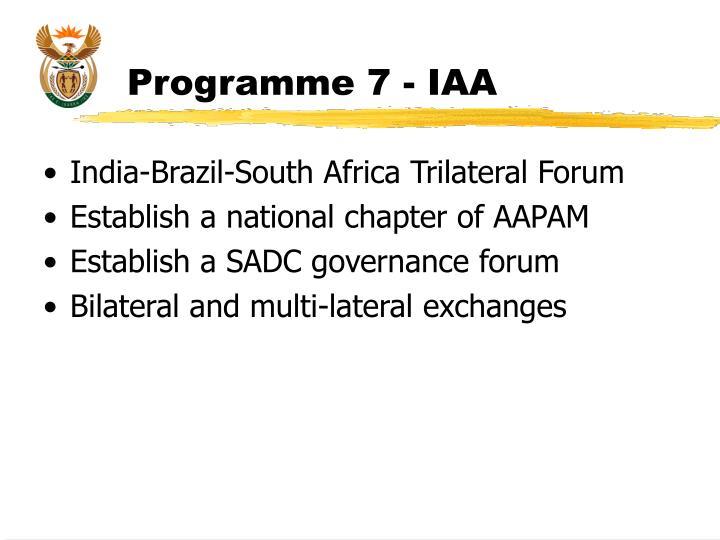 Programme 7 - IAA