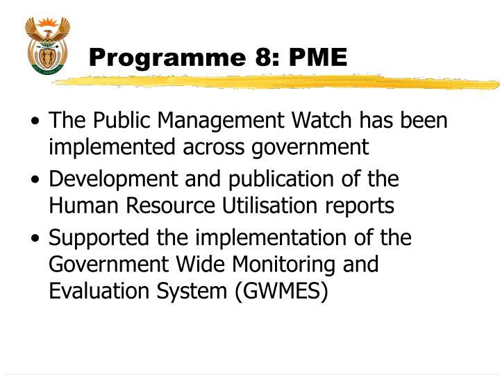 Programme 8: PME