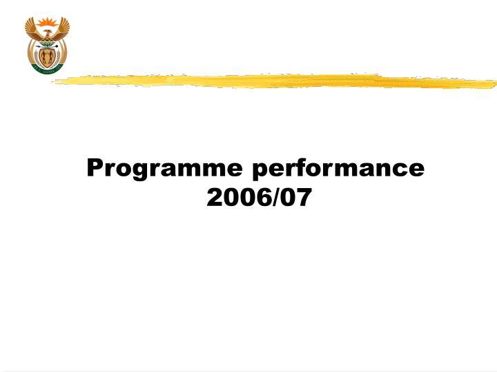 Programme performance