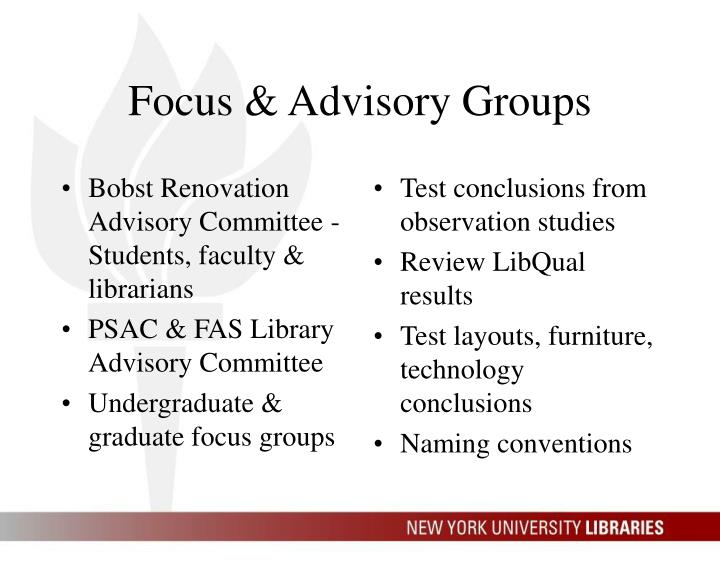 Bobst Renovation Advisory Committee -Students, faculty & librarians