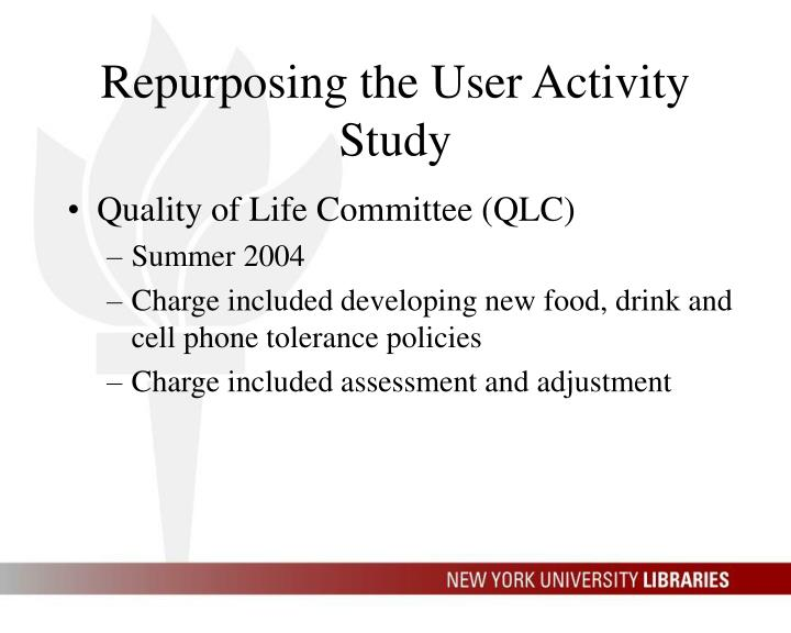 Repurposing the User Activity Study