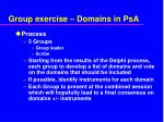 group exercise domains in psa
