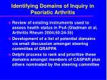 identifying domains of inquiry in psoriatic arthritis1